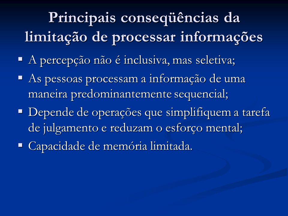 Principais conseqüências da limitação de processar informações