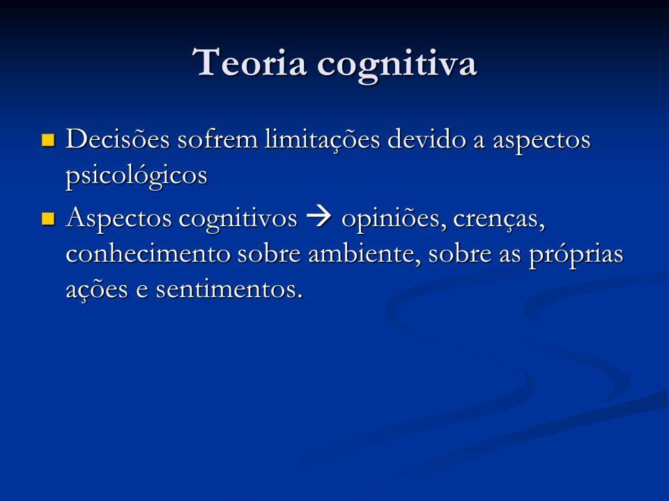 Teoria cognitiva Decisões sofrem limitações devido a aspectos psicológicos.