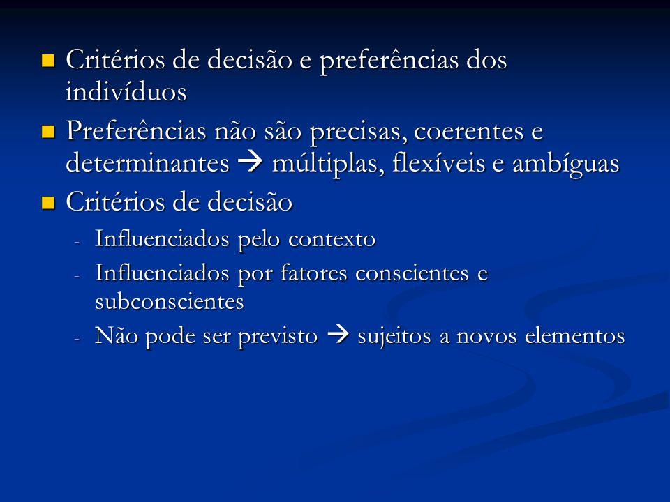 Critérios de decisão e preferências dos indivíduos