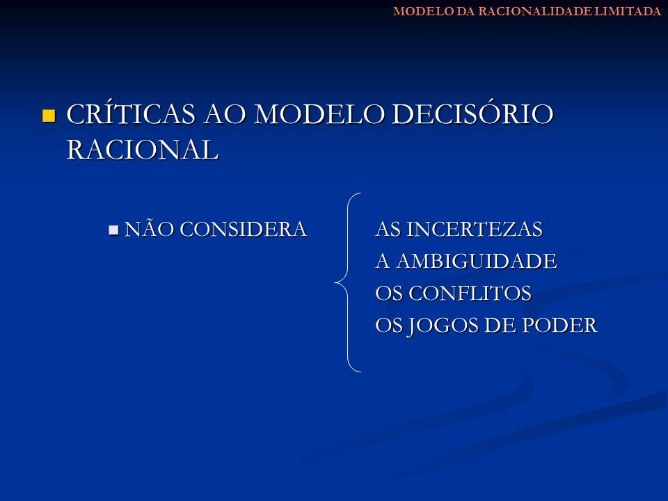 CRÍTICAS AO MODELO DECISÓRIO RACIONAL
