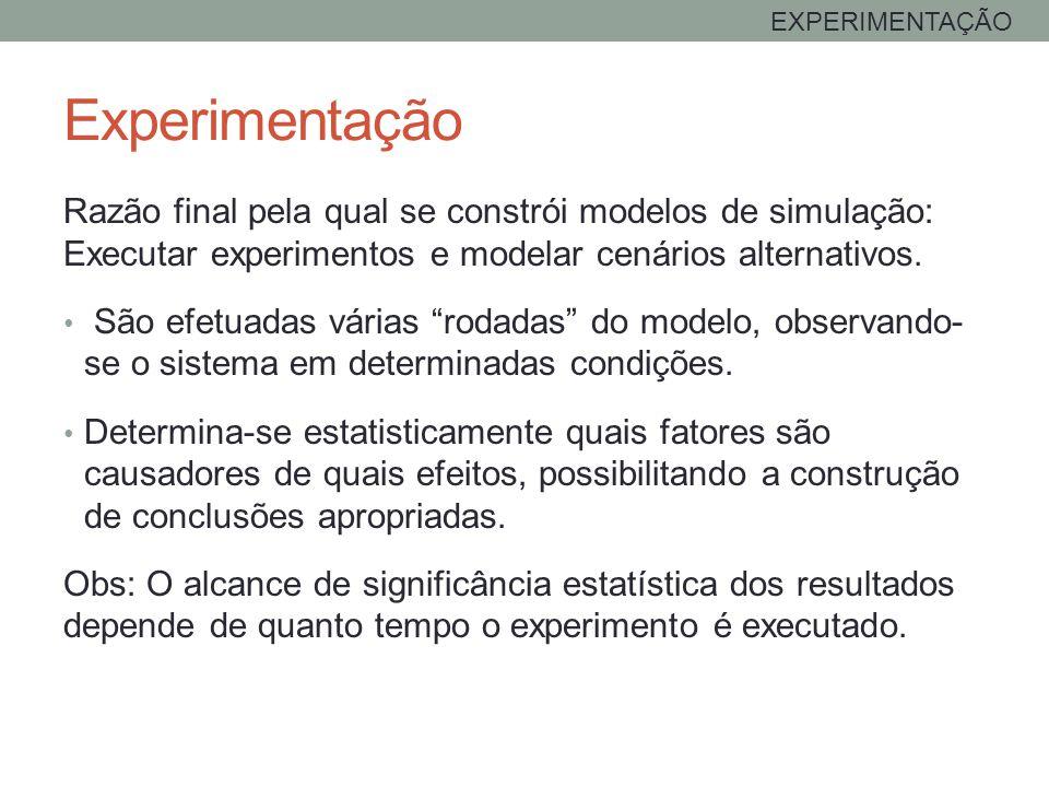 EXPERIMENTAÇÃO Experimentação. Razão final pela qual se constrói modelos de simulação: Executar experimentos e modelar cenários alternativos.