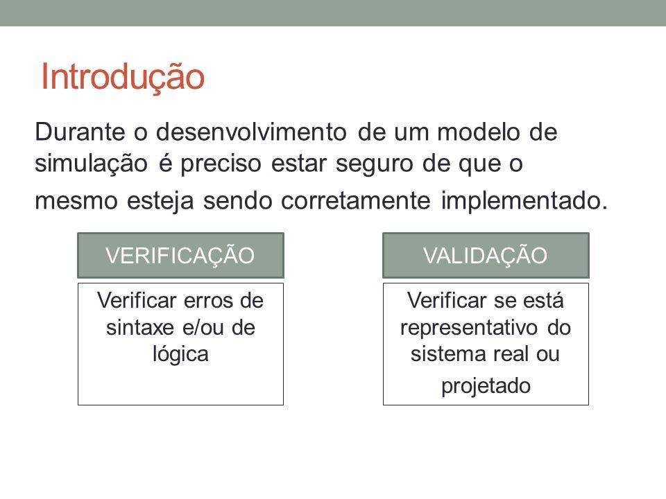 Introdução Durante o desenvolvimento de um modelo de simulação é preciso estar seguro de que o. mesmo esteja sendo corretamente implementado.