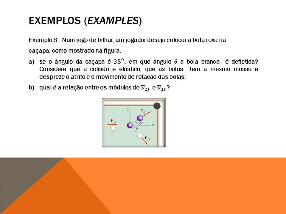 EXEMPLOS (EXAMPLES) Exemplo 8: Num jogo de bilhar, um jogador deseja colocar a bola roxa na. caçapa, como mostrado na figura.