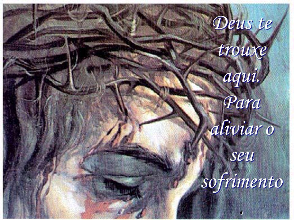 Deus te trouxe aqui. Para aliviar o seu sofrimento.