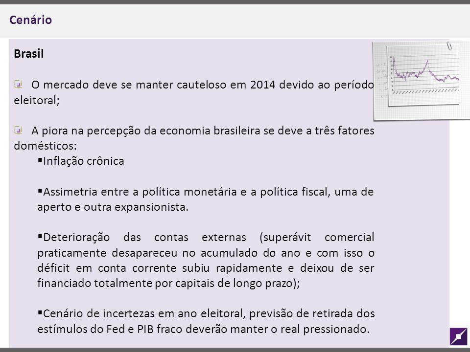 Cenário Brasil. O mercado deve se manter cauteloso em 2014 devido ao período eleitoral;
