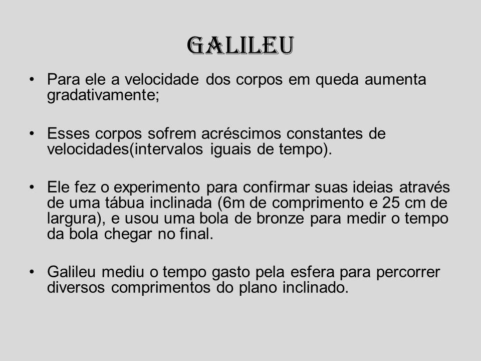 Galileu Para ele a velocidade dos corpos em queda aumenta gradativamente;