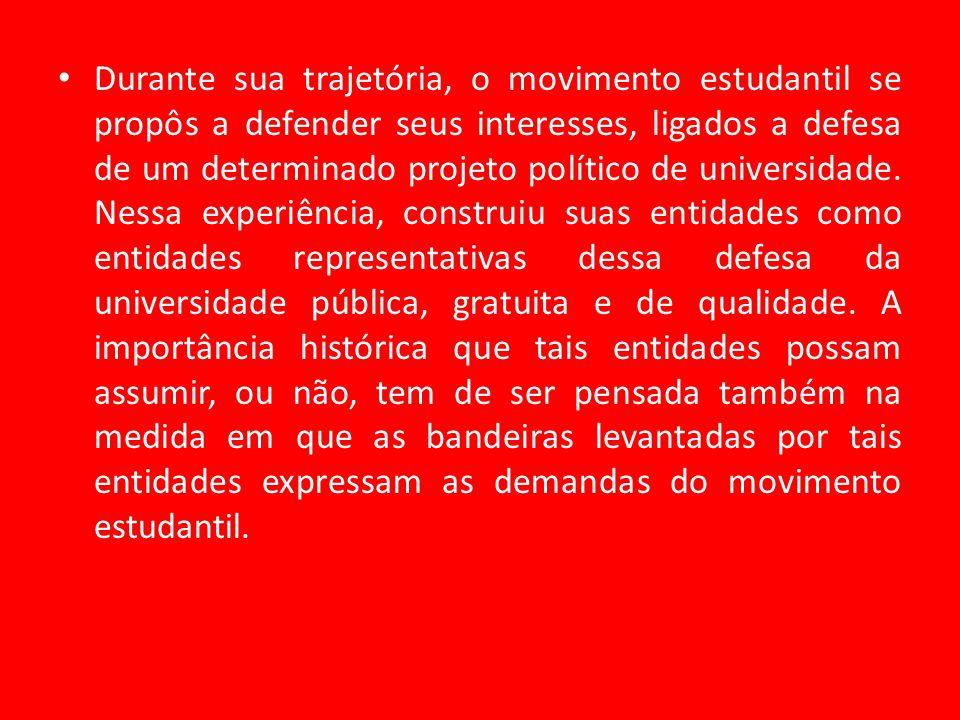 Durante sua trajetória, o movimento estudantil se propôs a defender seus interesses, ligados a defesa de um determinado projeto político de universidade.