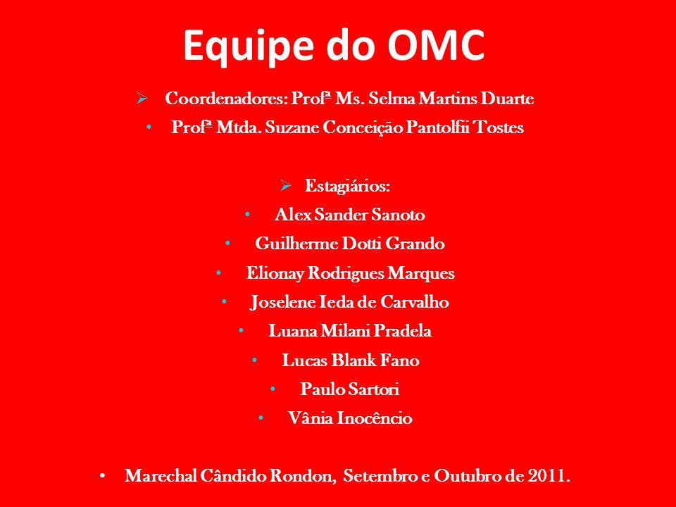 Equipe do OMC Coordenadores: Profª Ms. Selma Martins Duarte