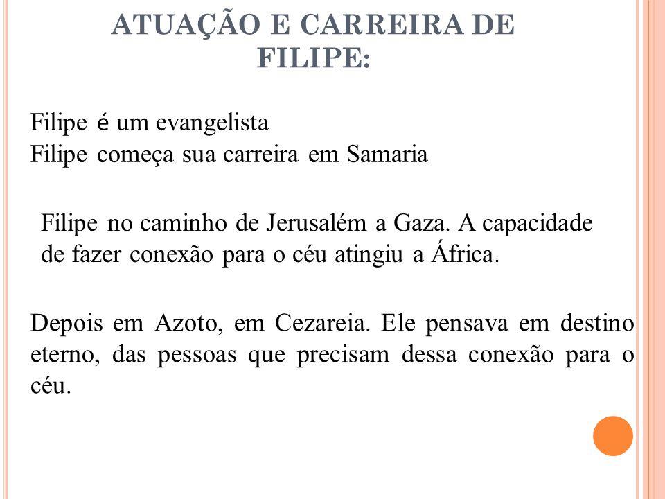 ATUAÇÃO E CARREIRA DE FILIPE: