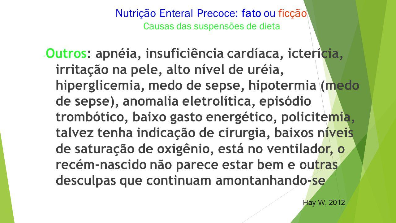 Nutrição Enteral Precoce: fato ou ficção Causas das suspensões de dieta