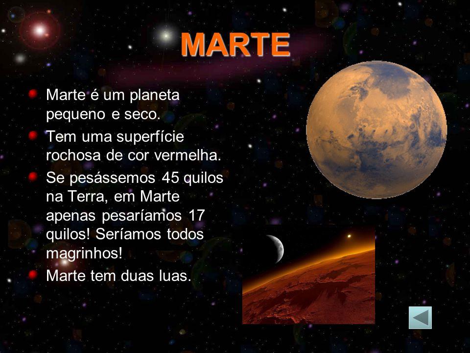 MARTE Marte é um planeta pequeno e seco.