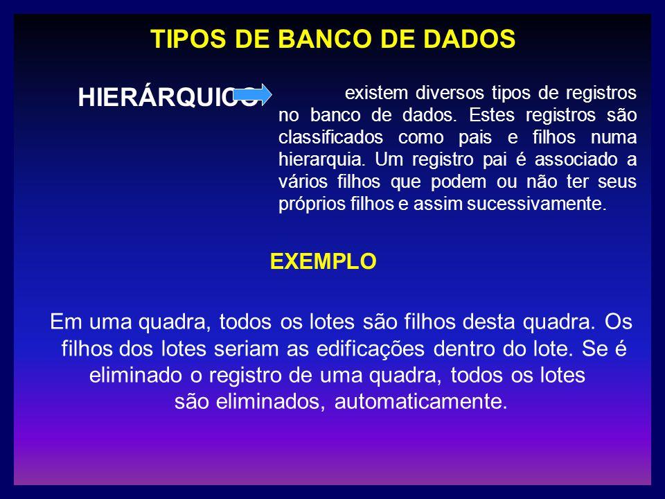 TIPOS DE BANCO DE DADOS HIERÁRQUICO