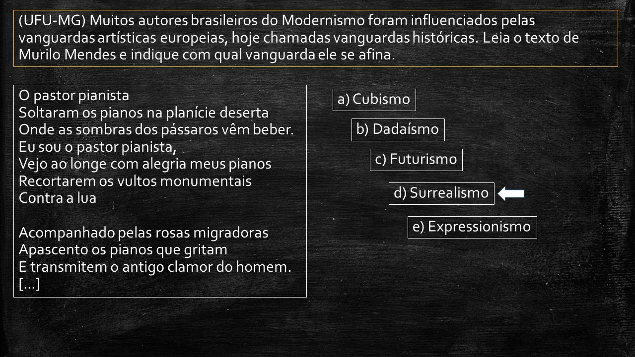 (UFU-MG) Muitos autores brasileiros do Modernismo foram influenciados pelas vanguardas artísticas europeias, hoje chamadas vanguardas históricas. Leia o texto de Murilo Mendes e indique com qual vanguarda ele se afina.