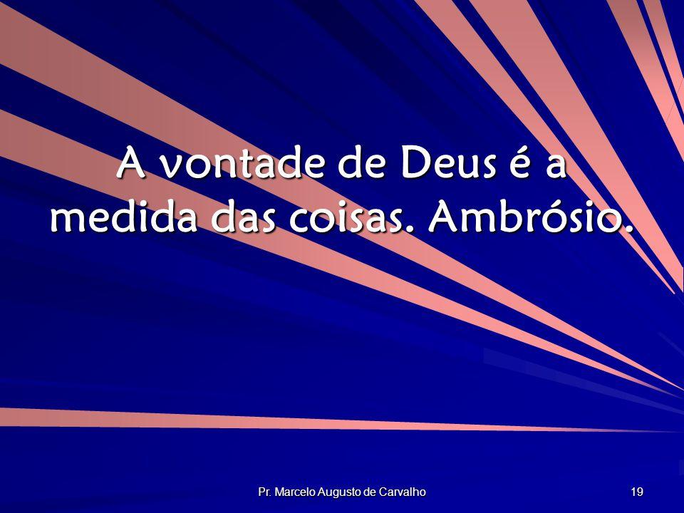 A vontade de Deus é a medida das coisas. Ambrósio.