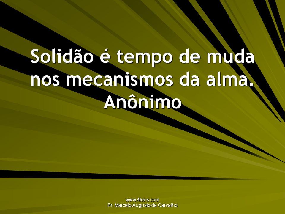 Solidão é tempo de muda nos mecanismos da alma. Anônimo