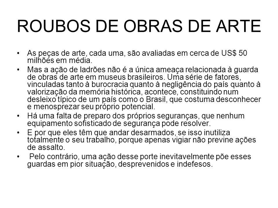 ROUBOS DE OBRAS DE ARTE As peças de arte, cada uma, são avaliadas em cerca de US$ 50 milhões em média.
