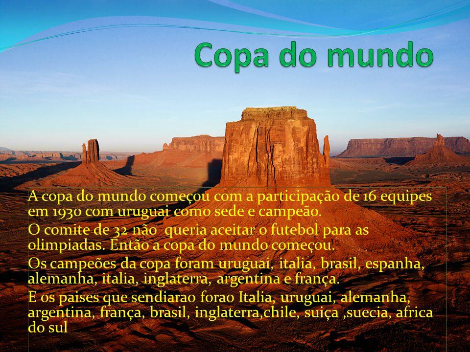 Copa do mundo A copa do mundo começou com a participação de 16 equipes em 1930 com uruguai como sede e campeão.