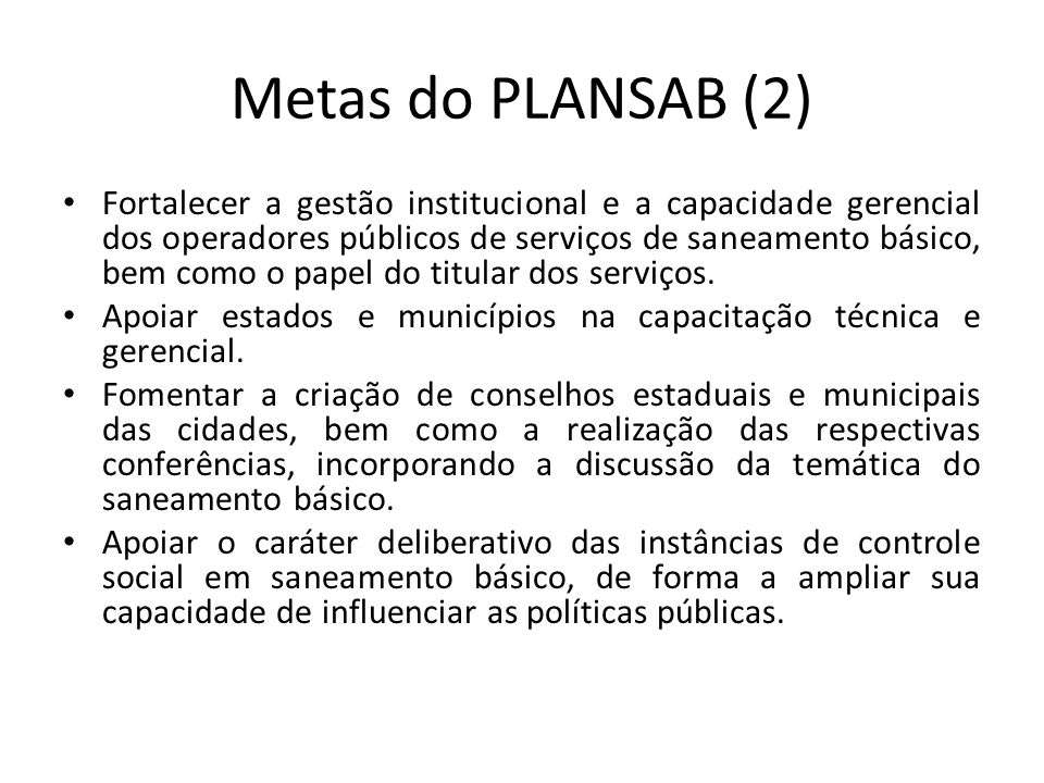 Metas do PLANSAB (2)