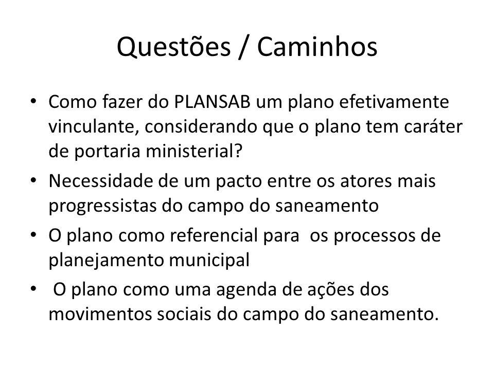 Questões / Caminhos Como fazer do PLANSAB um plano efetivamente vinculante, considerando que o plano tem caráter de portaria ministerial