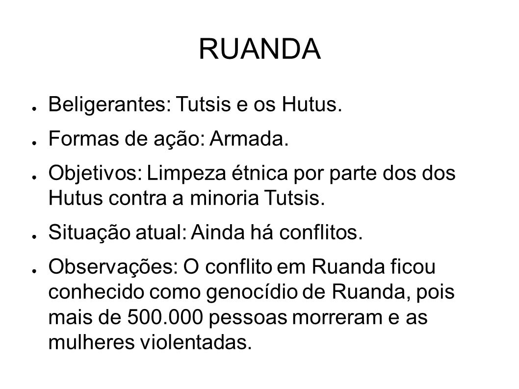 RUANDA Beligerantes: Tutsis e os Hutus. Formas de ação: Armada.