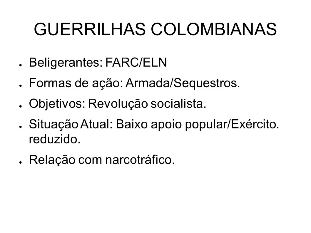 GUERRILHAS COLOMBIANAS