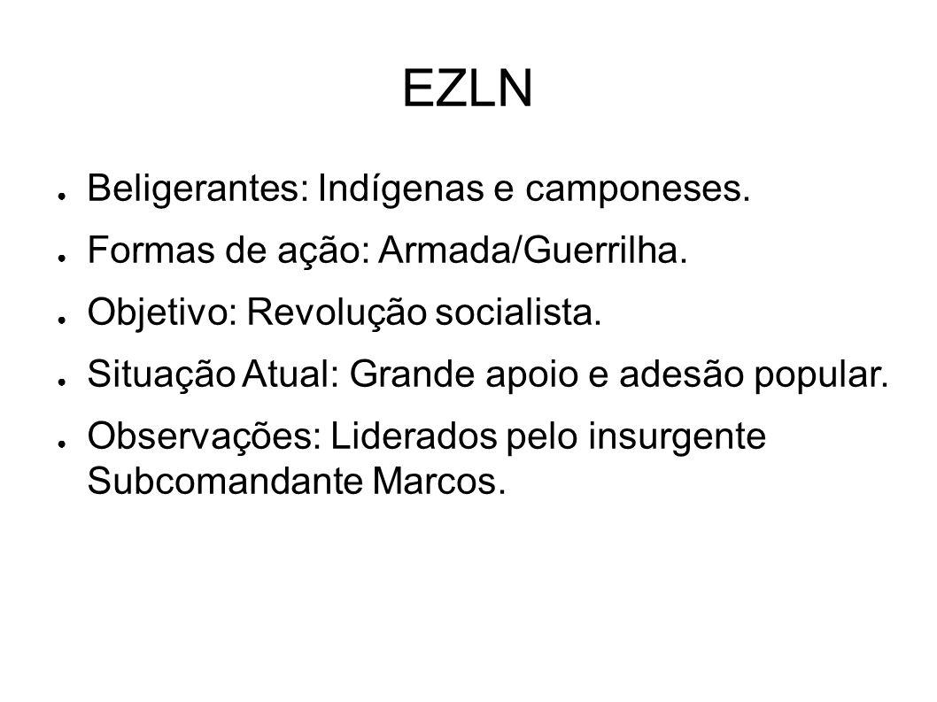 EZLN Beligerantes: Indígenas e camponeses.