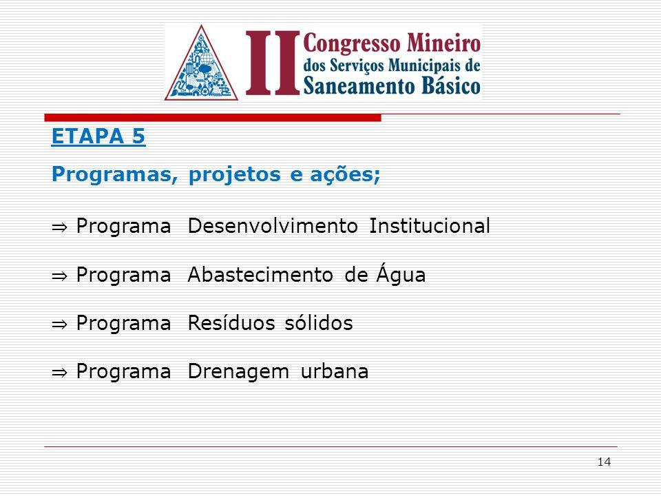 ETAPA 5 Programas, projetos e ações; ⇒ Programa Desenvolvimento Institucional. ⇒ Programa Abastecimento de Água.