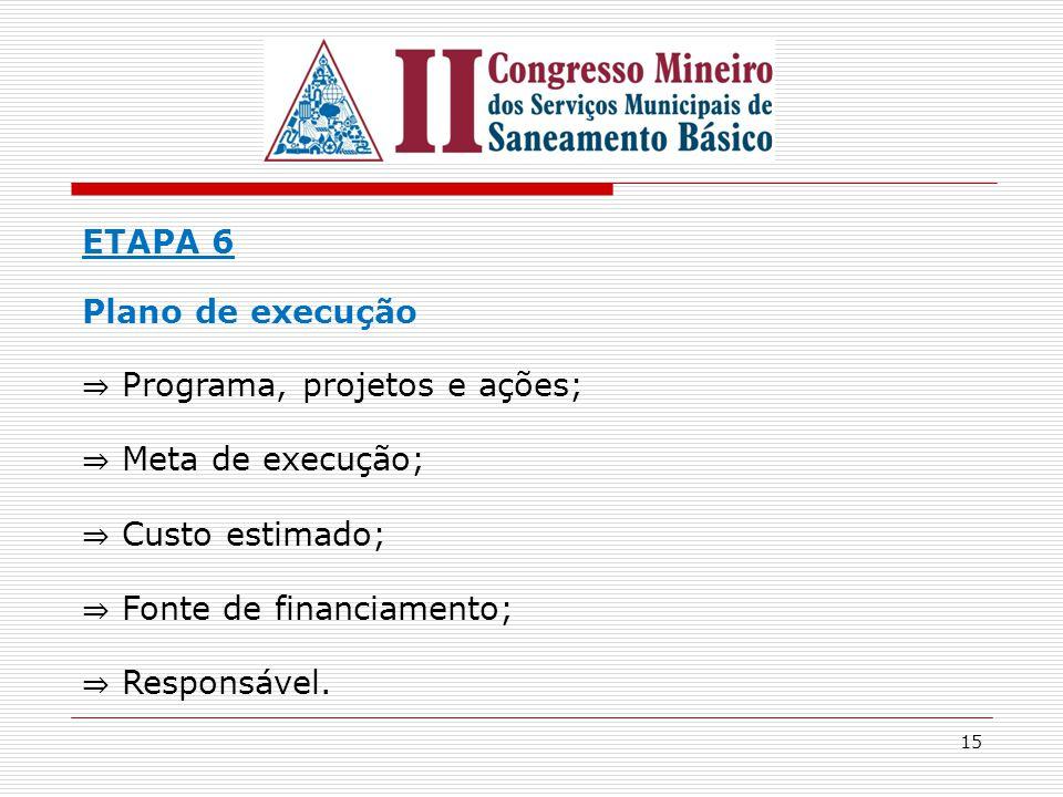 ETAPA 6 Plano de execução. ⇒ Programa, projetos e ações; ⇒ Meta de execução; ⇒ Custo estimado; ⇒ Fonte de financiamento;