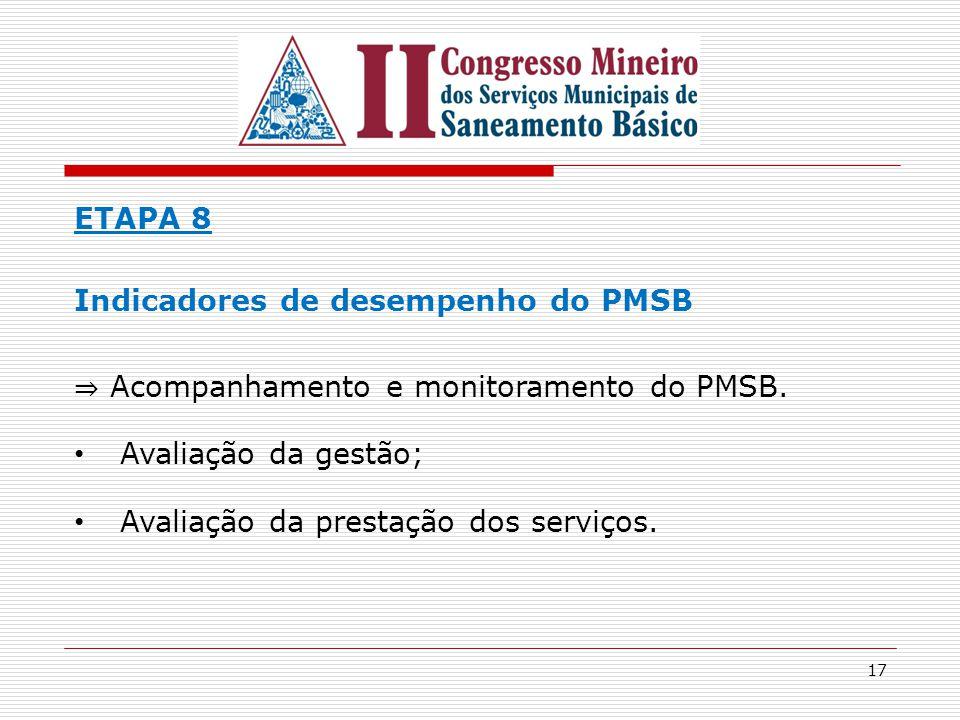 ETAPA 8 Indicadores de desempenho do PMSB. ⇒ Acompanhamento e monitoramento do PMSB. Avaliação da gestão;