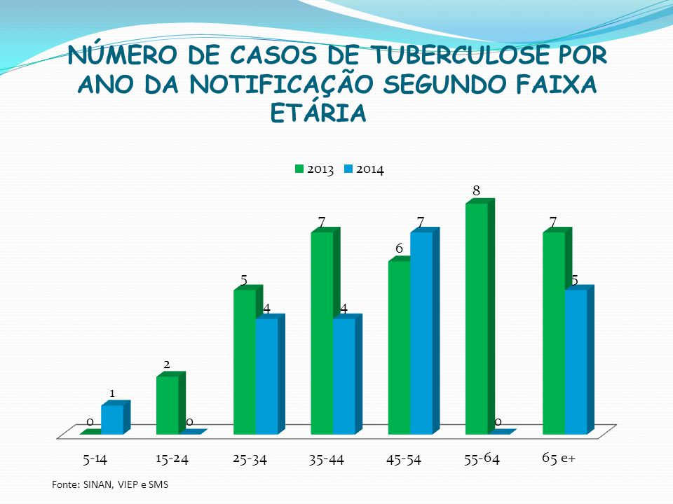NÚMERO DE CASOS DE TUBERCULOSE POR ANO DA NOTIFICAÇÃO SEGUNDO FAIXA ETÁRIA
