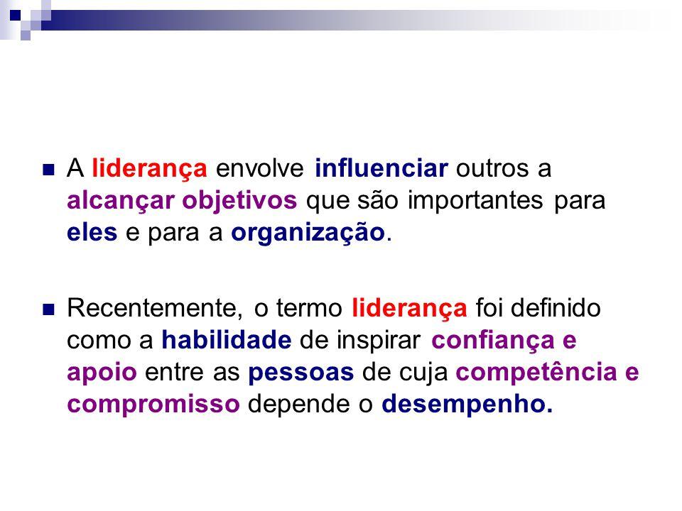 A liderança envolve influenciar outros a alcançar objetivos que são importantes para eles e para a organização.