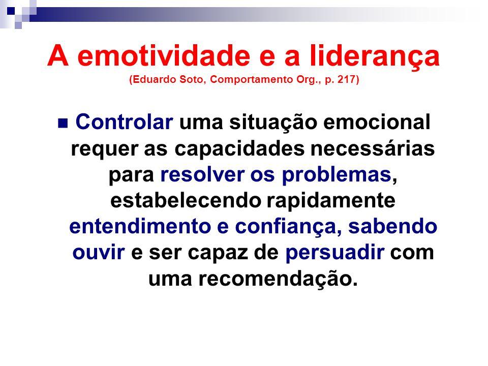 A emotividade e a liderança (Eduardo Soto, Comportamento Org., p. 217)