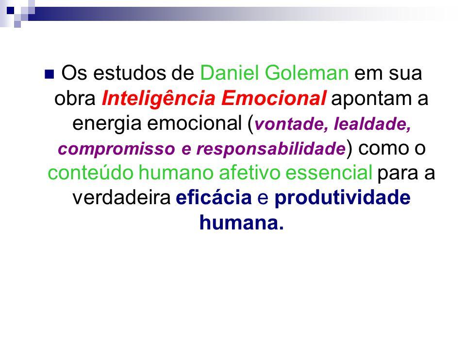 Os estudos de Daniel Goleman em sua obra Inteligência Emocional apontam a energia emocional (vontade, lealdade, compromisso e responsabilidade) como o conteúdo humano afetivo essencial para a verdadeira eficácia e produtividade humana.