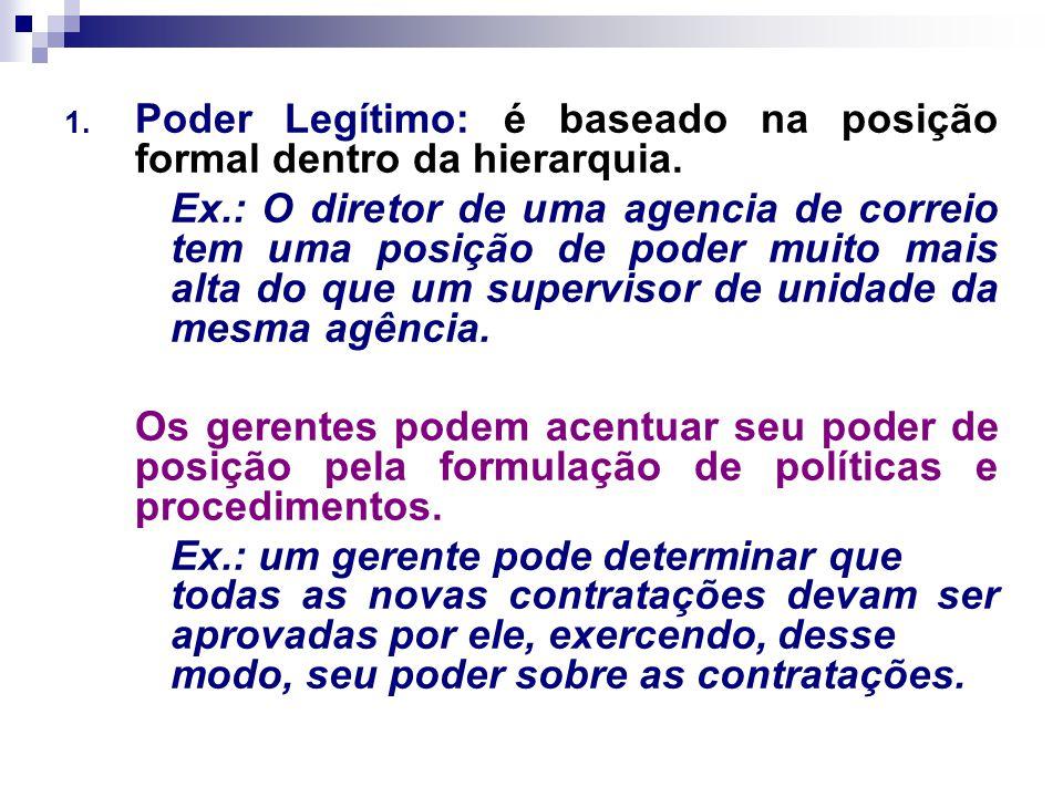 Poder Legítimo: é baseado na posição formal dentro da hierarquia.