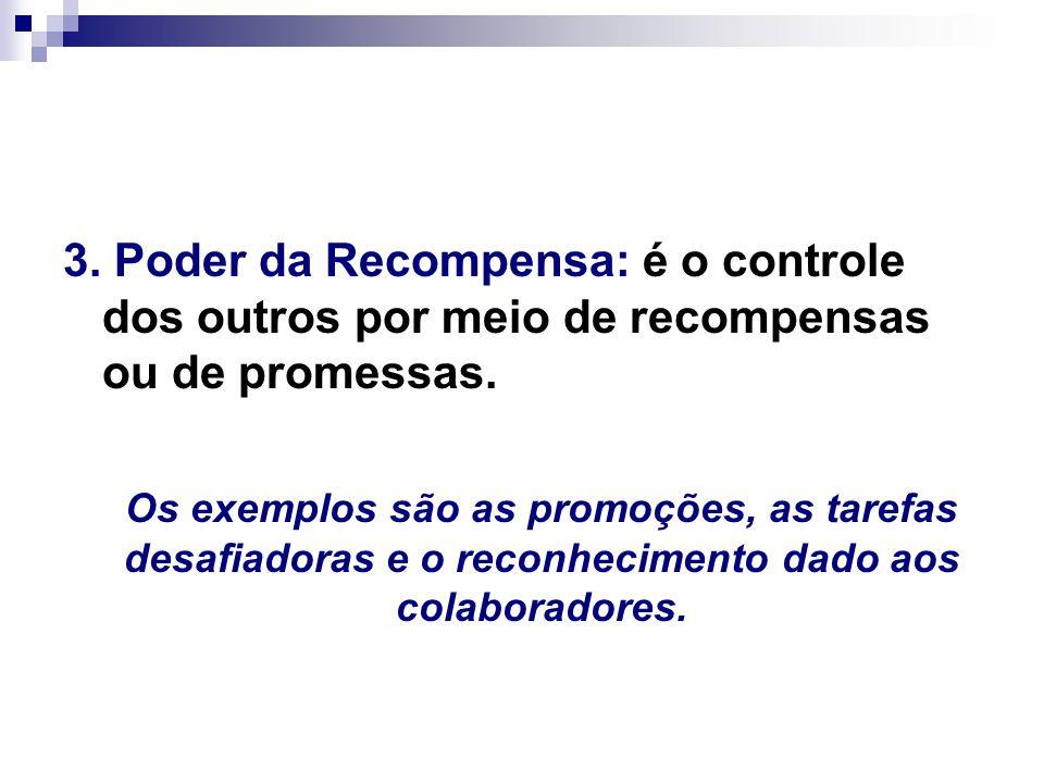3. Poder da Recompensa: é o controle dos outros por meio de recompensas ou de promessas.