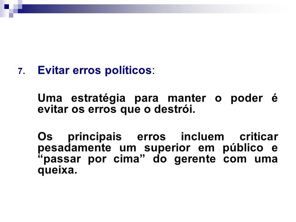 Evitar erros políticos: