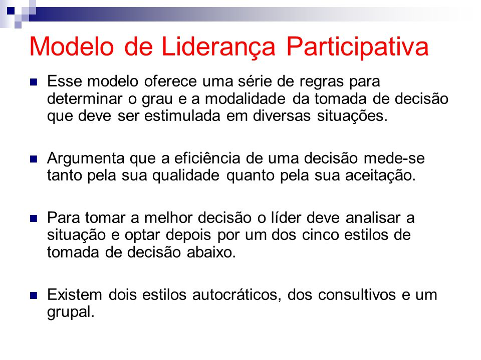 Modelo de Liderança Participativa