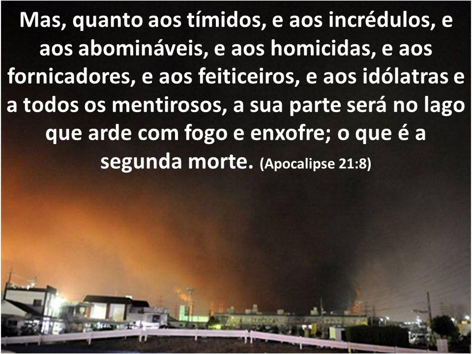 Mas, quanto aos tímidos, e aos incrédulos, e aos abomináveis, e aos homicidas, e aos fornicadores, e aos feiticeiros, e aos idólatras e a todos os mentirosos, a sua parte será no lago que arde com fogo e enxofre; o que é a segunda morte.