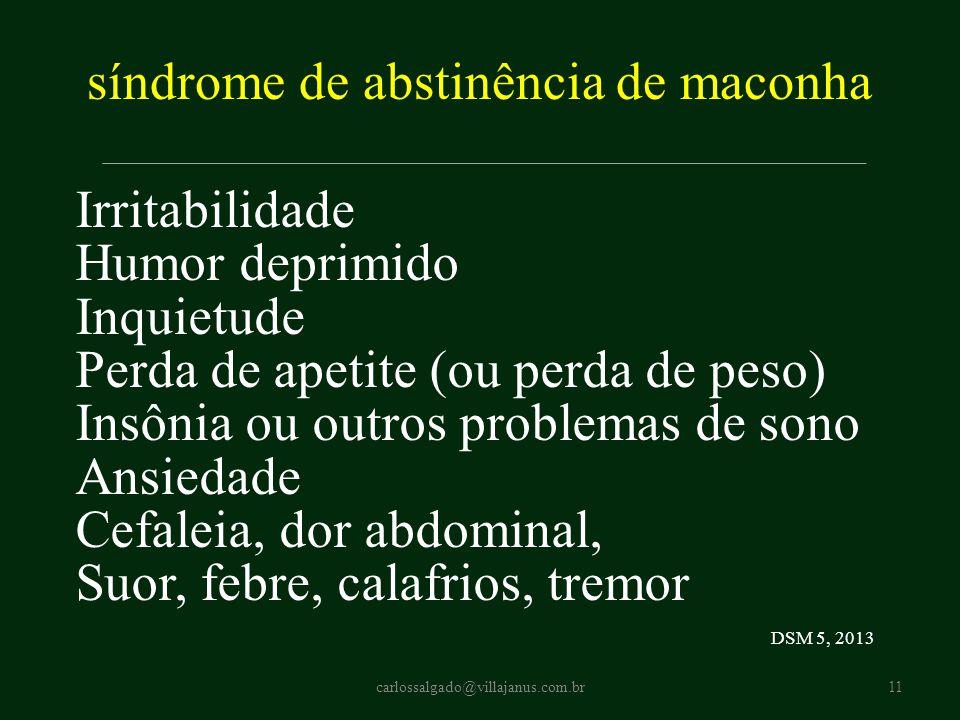 síndrome de abstinência de maconha