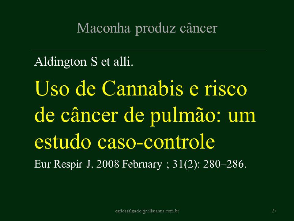 Uso de Cannabis e risco de câncer de pulmão: um estudo caso-controle