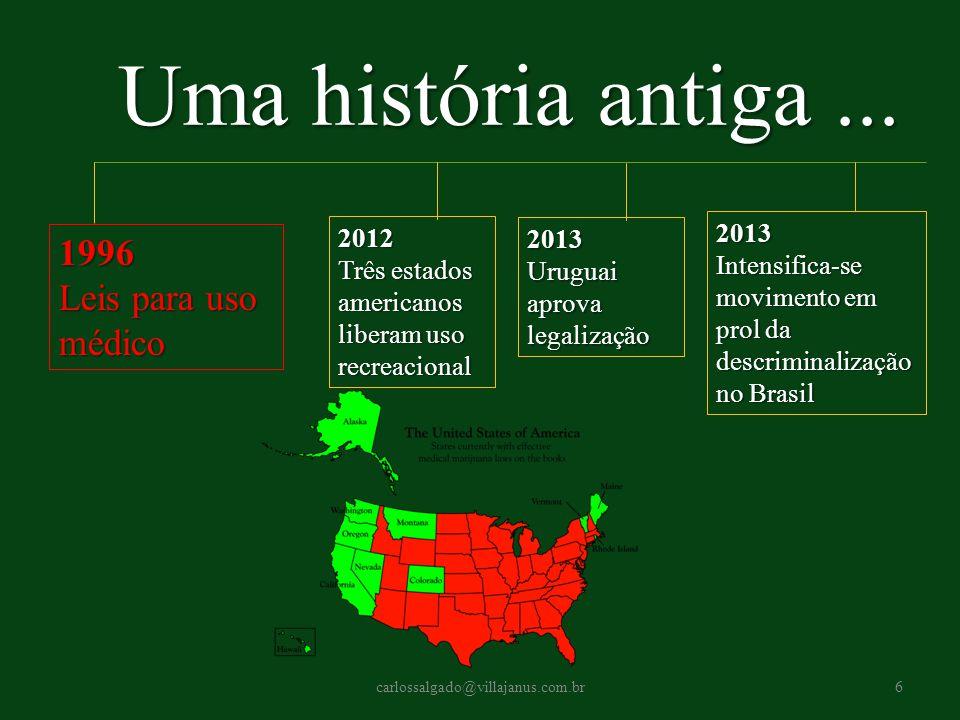 Uma história antiga ... 1996 Leis para uso médico 2013 2012 2013