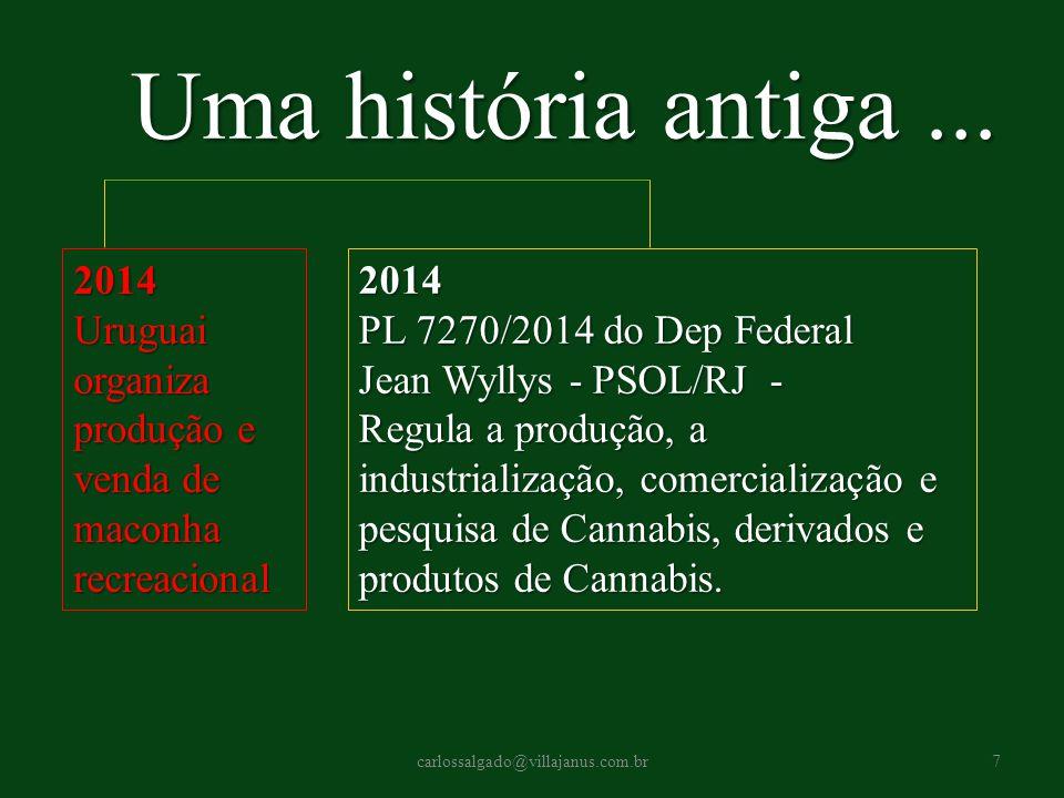 Uma história antiga ... 2014. Uruguai organiza produção e venda de maconha recreacional. 2014.