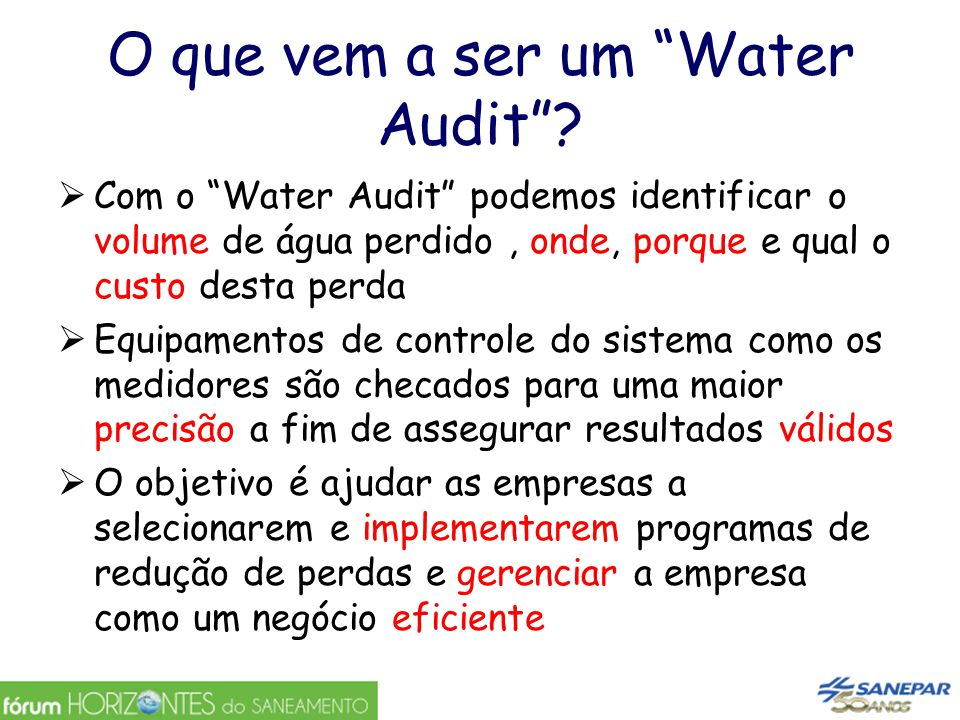 O que vem a ser um Water Audit