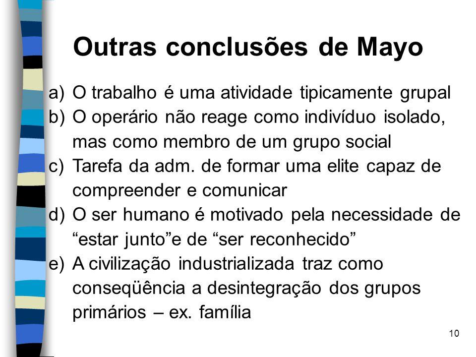 Outras conclusões de Mayo