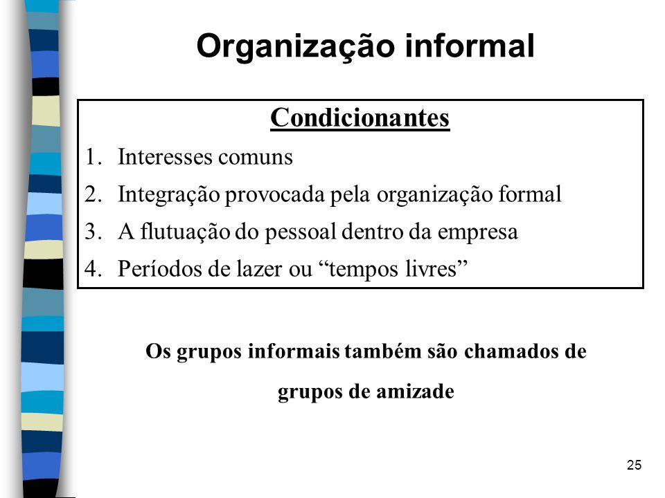 Os grupos informais também são chamados de