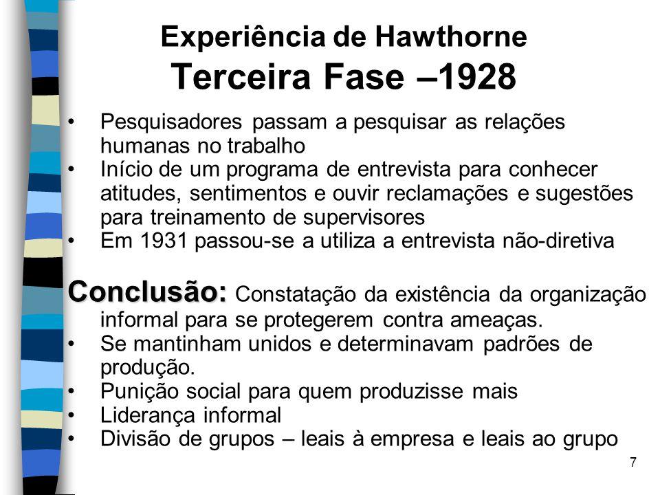 Experiência de Hawthorne Terceira Fase –1928