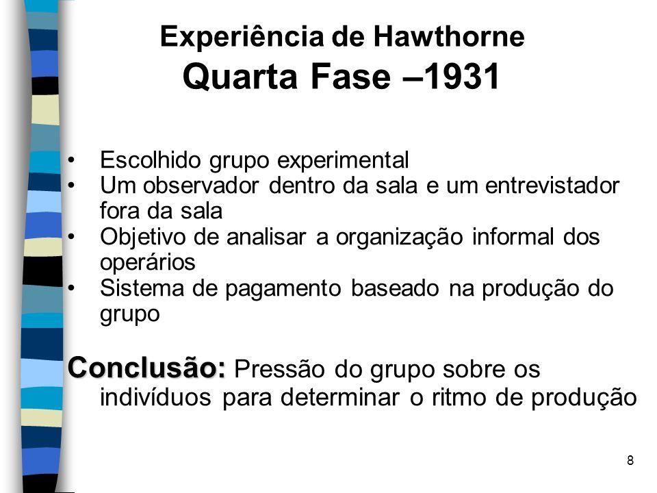 Experiência de Hawthorne Quarta Fase –1931