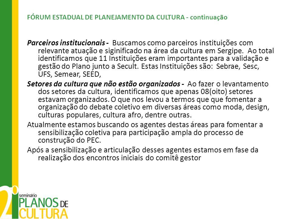 FÓRUM ESTADUAL DE PLANEJAMENTO DA CULTURA - continuação
