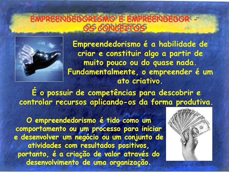 EMPREENDEDORISMO E EMPREENDEDOR - OS CONCEITOS