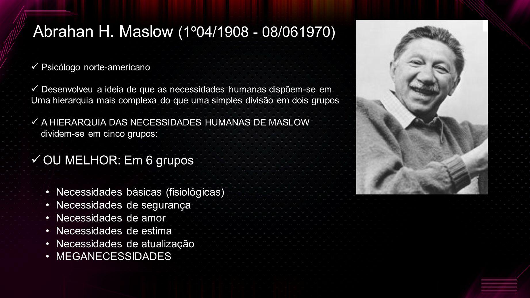 Abrahan H. Maslow (1º04/1908 - 08/061970)